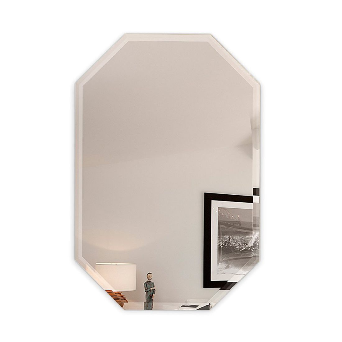 "24"" x 36"" inch Octagon Frameless Wall Mirror bevel polish with 3 Hooks"