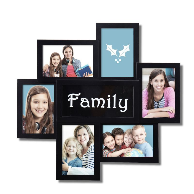 "Adeco Decorative Black Plastic ""Family"" Wall Hanging Collage Picture Photo Frame, 4 x 6-Inch"