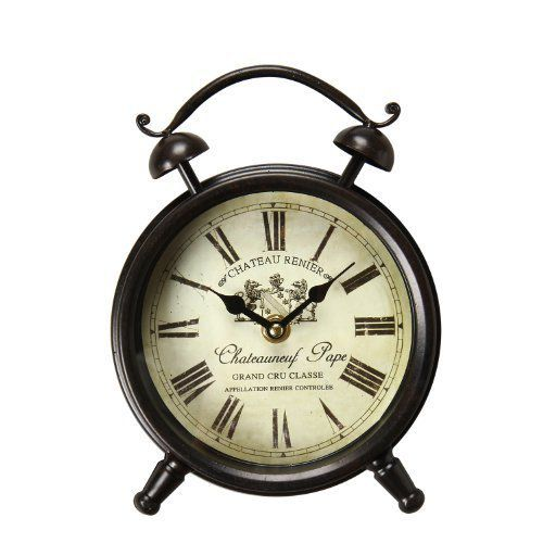 "Adeco Vintage-Inspired Brown Iron Clock Wall Hanging or Table Clock, Roman Numerals ""Chateauneuf Pape"" Home Decor, off white, black"