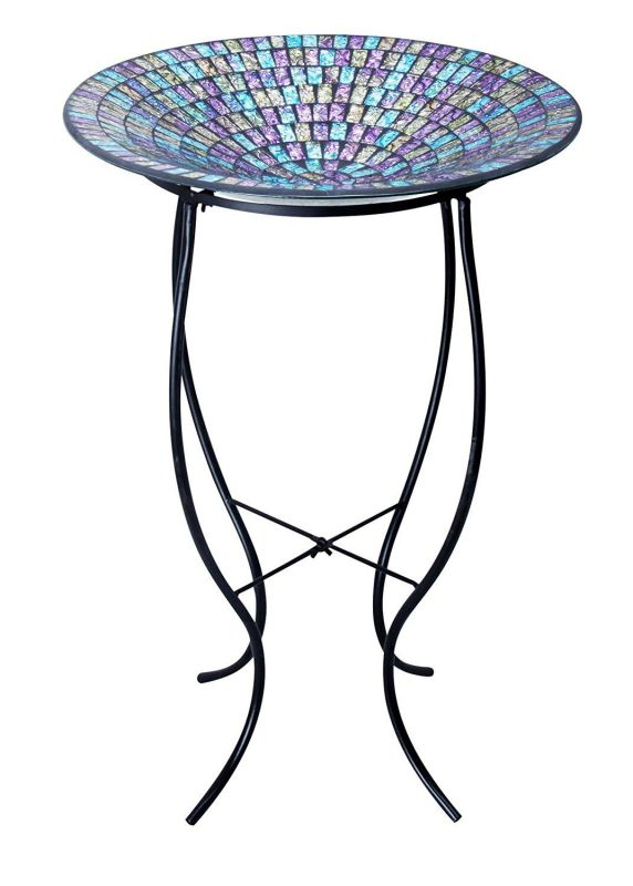 "Alpine GRS470A-18 Purple/Blue/Yellow Mosaic Glass Birdbath with Metal Stand, 18"""