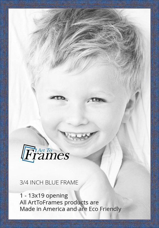 ArtToFrames 13x19 inch Blue Rustic Barnwood Wood Picture Frame, WOM0066-1343-YBLU-13x19