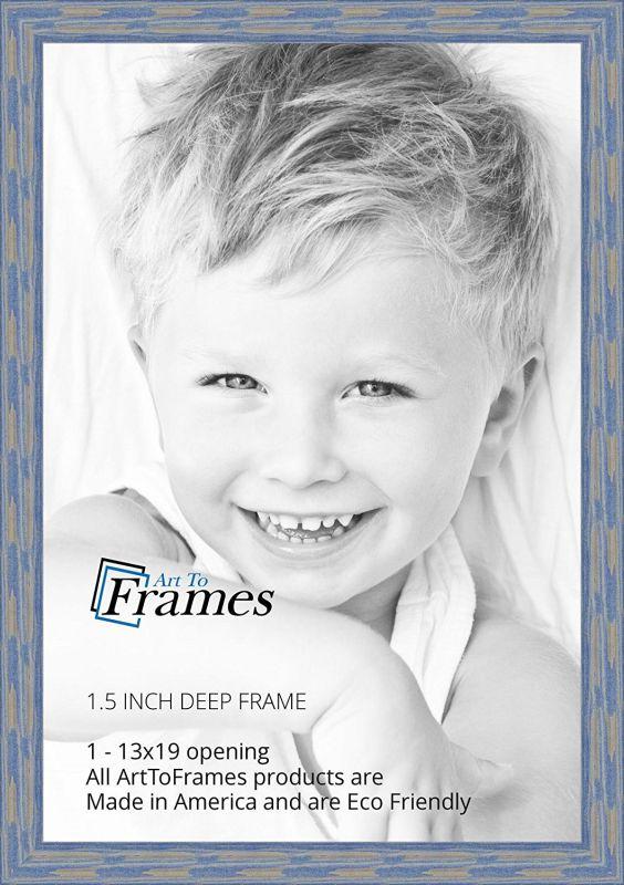 ArtToFrames 13x19 inch Deep Periwinkle Barnwood Frame Wood Picture Frame, WOM0066-56673-YBLU-13x19