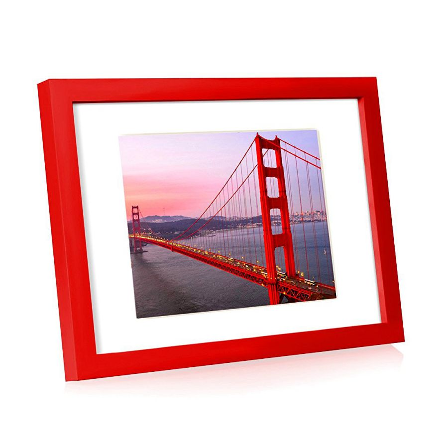BOJIN Wooden Table Top Picture Frame With Mat , Red Wood Picture Frames ,Plexiglass Screen Holds A4 Wedding Picture ,Document,Graduation Photo , Holds Picture 6x9 With Mat