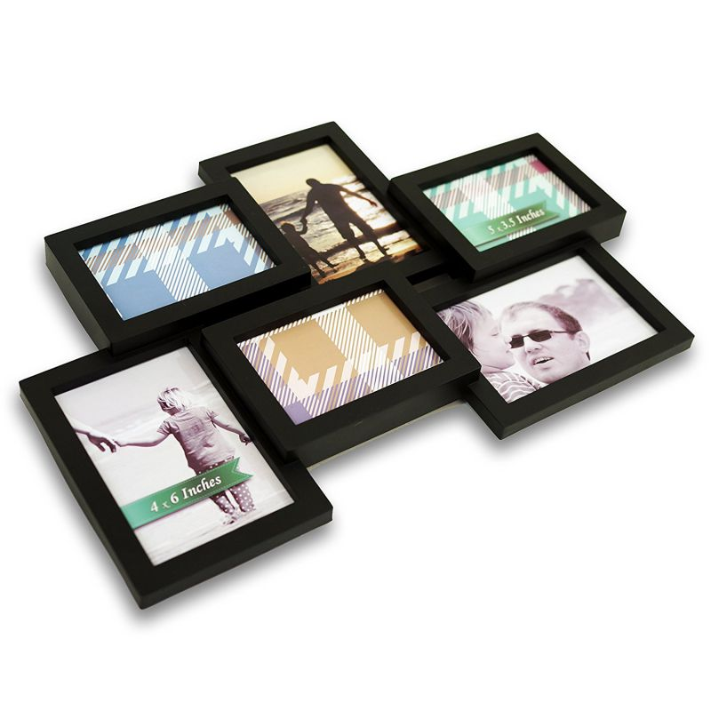 BestBuy Frames Stylish Black 6 Opening 3- 4x6 and 3-5x3.5 Wall Hanging Collage Picture Frame, Perfect Artistic Photo Frame for Family, Friends, or Travel Photos.Collage and Multiple Opening Frames
