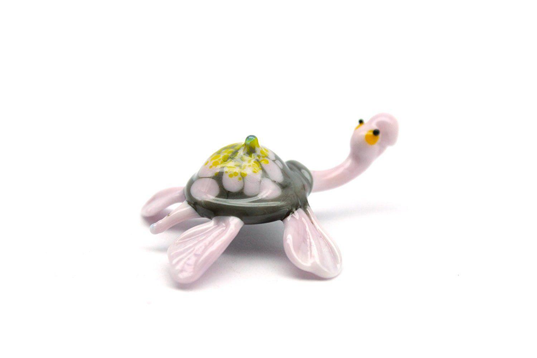 Blown Glass Turtle Miniature Fused Turtles Unique Handblown Lampwork Sea Collectible Art Figurine Gift Murano Boro Glass Lampwork Toy