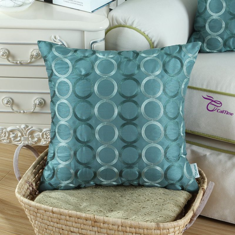 CaliTime Contempo Decorative Throw Pillow Cushion Covers Pillowcase Shell Faux Silk Two-tone Circles Rings Chain Embroidered 18 X 18 Inches Teal