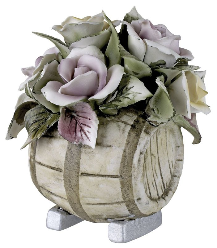 Capodimonte Porcelain Figurine Flower Bouquet on Wine Barrel with Colorful Roses