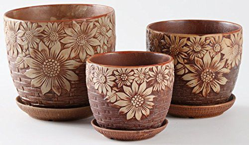 Ceramic Home/ Garden Round Flower Pot with Saucer Tray Big Sunflower Weaving Design, Set of 3