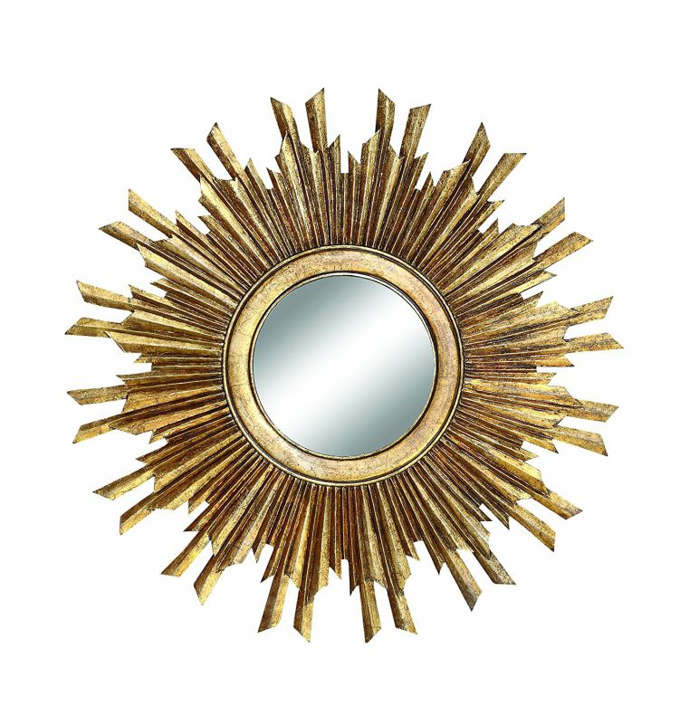 Creative Co-Op Round MDF Wood Sunburst Mirror