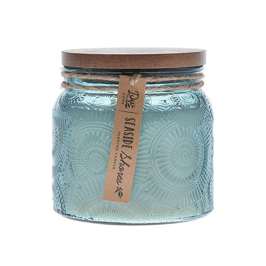 DW Home Decoware Richly Scented Candle 16.53 oz. in Glass Jar Large Double Wick w/Wood Lid --- Seaside Shores