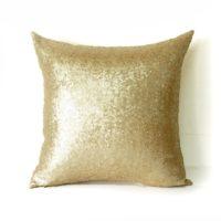 AMAZLINEN(TM) Decorative Glitzy Sequin & Comfy Satin Knit Throw Pillow Cover 18 x 18 Pillow Covers,Hidden Zipper Design(Champagne Gold)