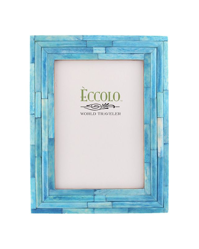 Eccolo World Traveler Naturals Collection Bangalore Raised Interior Frame, Holds 4 by 6-Inch Photo, Turquoise