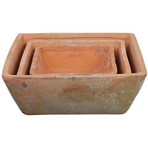 Esschert Design AT05 Aged Terracotta Square Pots (Set of 3)