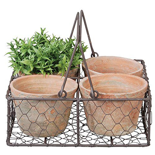 Esschert Design AT12 Aged Terracotta 4 Flowerpots in Metal Basket with Handle