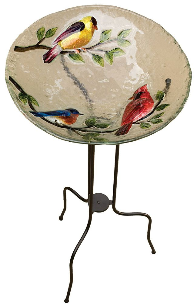 Evergreen 2GB018 Glass Bird Bath, Song Birds, 18-Inches Diameter
