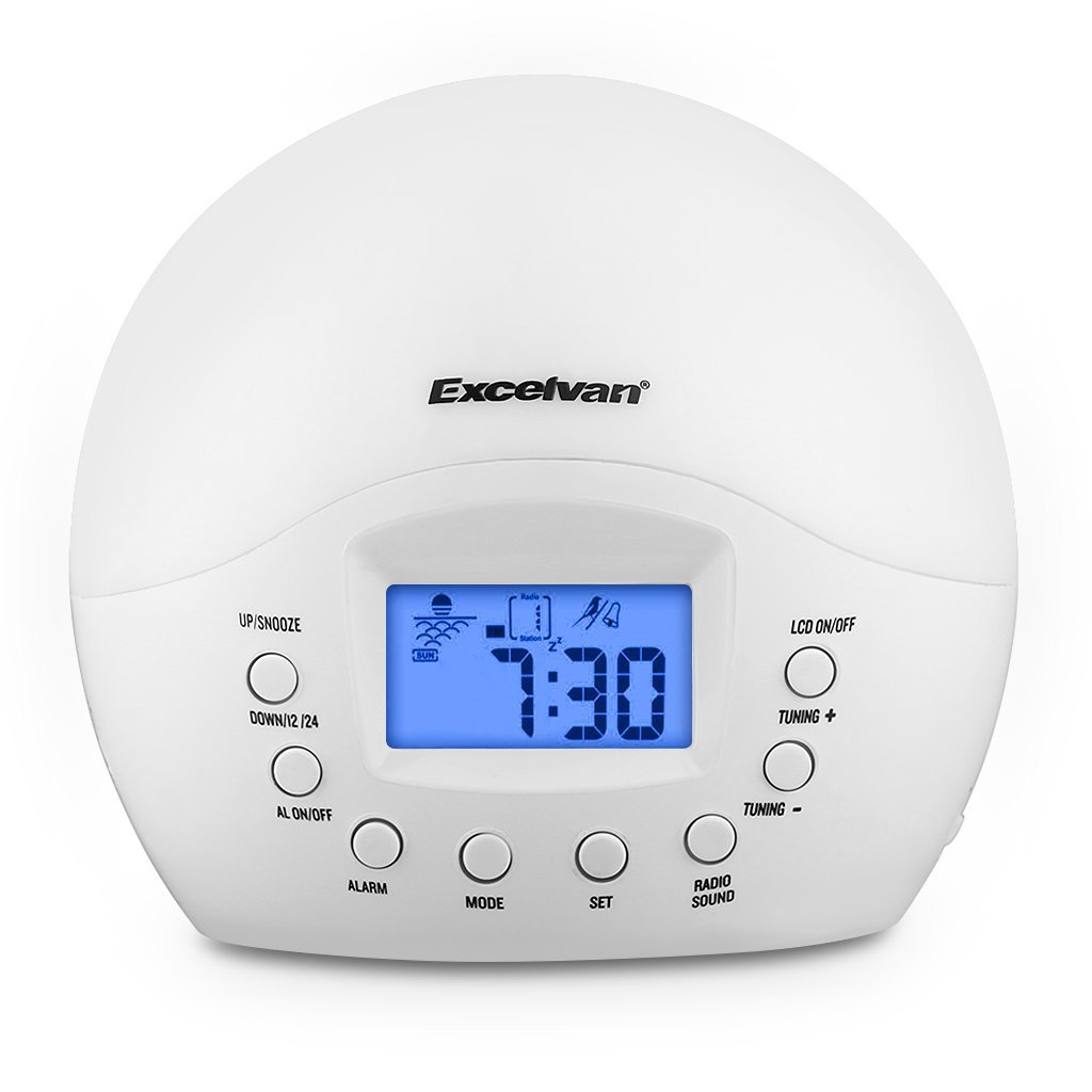 Excelvan Wake-Up Light Round with Sunrise Simulation Alarm Clock Natural Sound and FM Radio, White