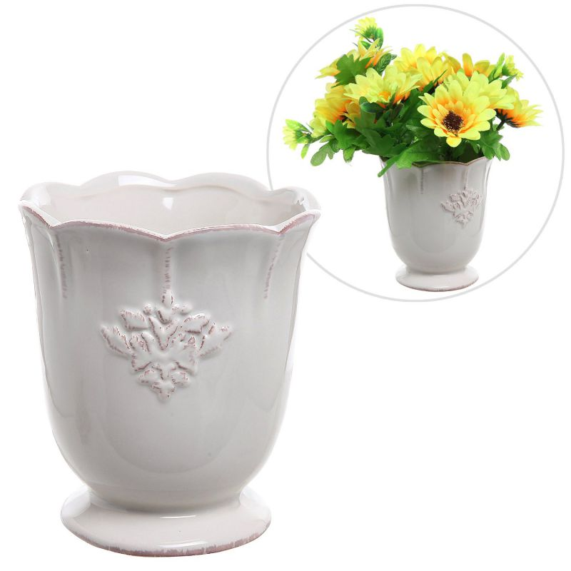 French Country Design Off-White Ceramic Small Decorative Vase / Succulent Plant Flower Planter Pot - MyGift