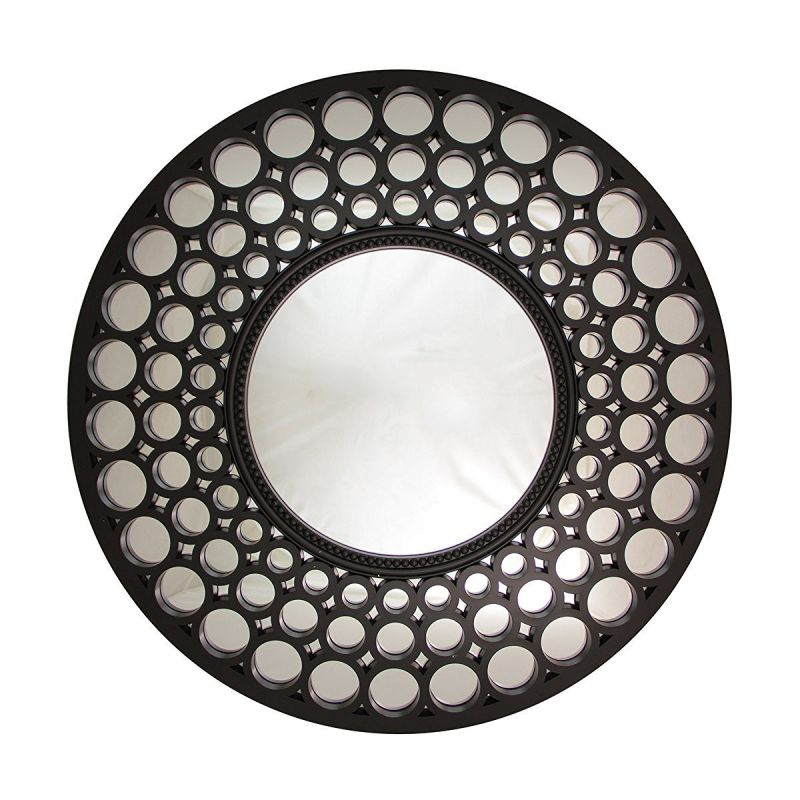 "24.75"" Glamorous Cascading Orbs Black Framed Round Wall Mirror"