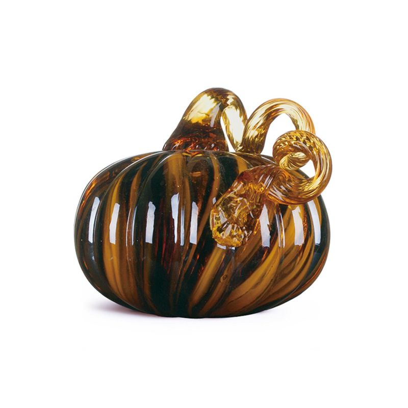 "Glitzhome 4.72"" Handblown Two Tone Stripe Glass Pumpkin Table Accent For Fall & Harvest, Thanksgiving Decorating, Amber & White"