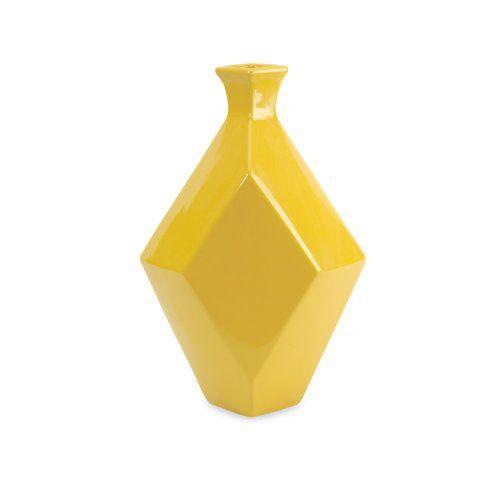 "14"" Glossy Canary Yellow Geometric Diamond Shaped Ceramic Vase"