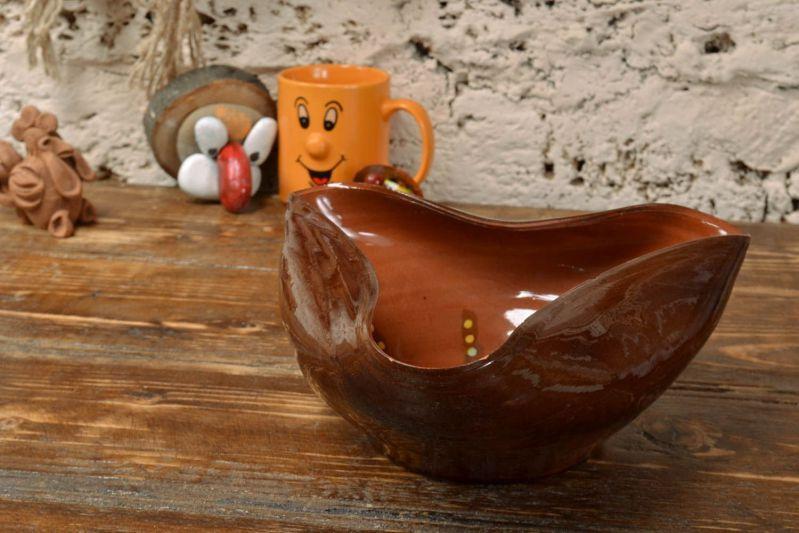 Handmade Decorative Glazed Clay Bowl Of Unusual Shape