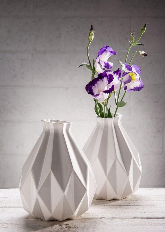 Handmade Geometric vase, White ceramic vase, Origami inspired Contemporary ceramic flower vase, Modern home decor vase