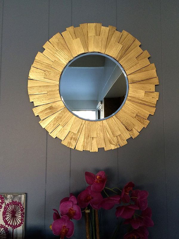 "Handmade Round 22"" Gold Wood Frame"