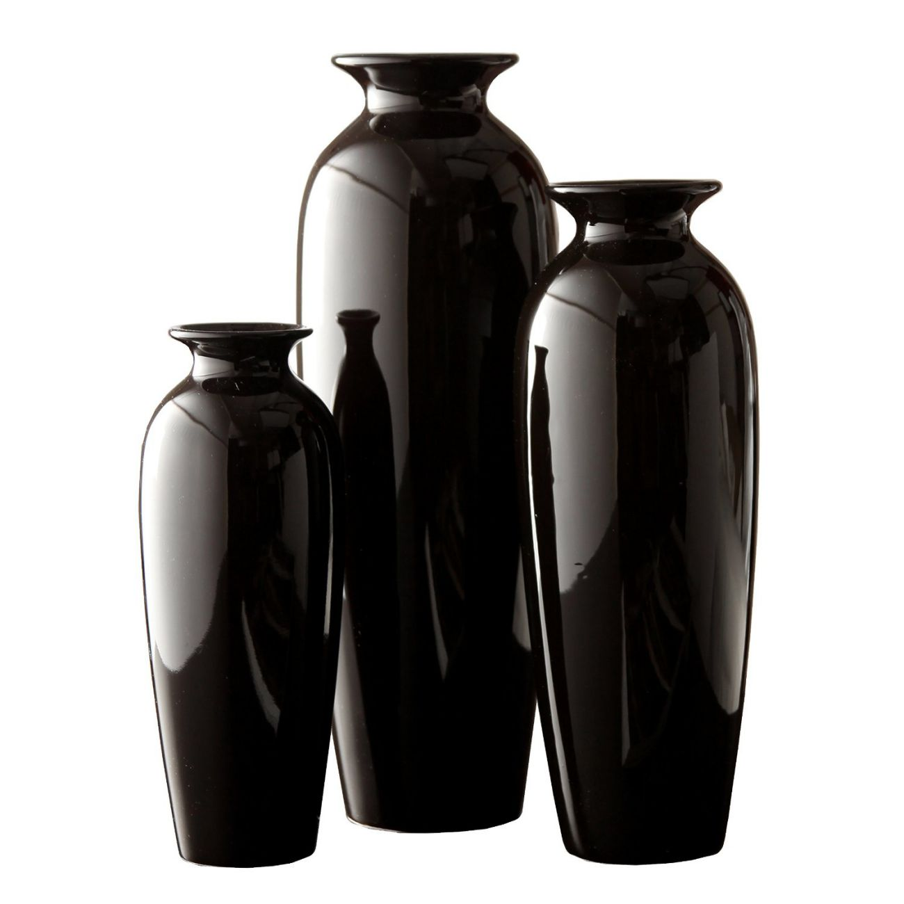 Hosley's Elegant Expressions Set of 3 Black Ceramic Vases in Gift Box- Box of 1 set