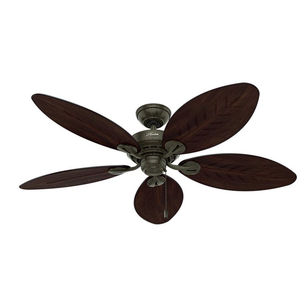 Hunter 54098 Bayview 54-inch ETL Damp Listed, Provencal Gold Ceiling Fan with Five Antique Dark Wicker/Antique Dark Palm Leaf Plastic Blades