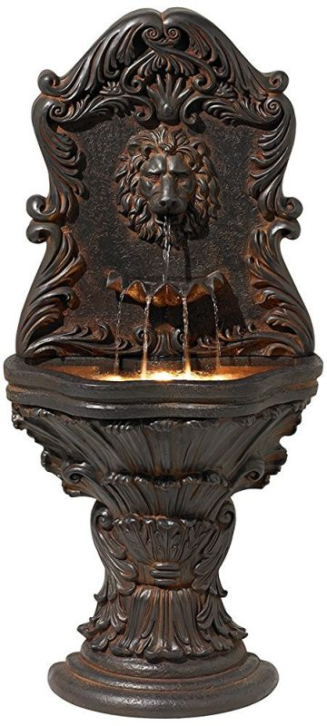 Imperial Lion Acanthus Wall Fountain with Light