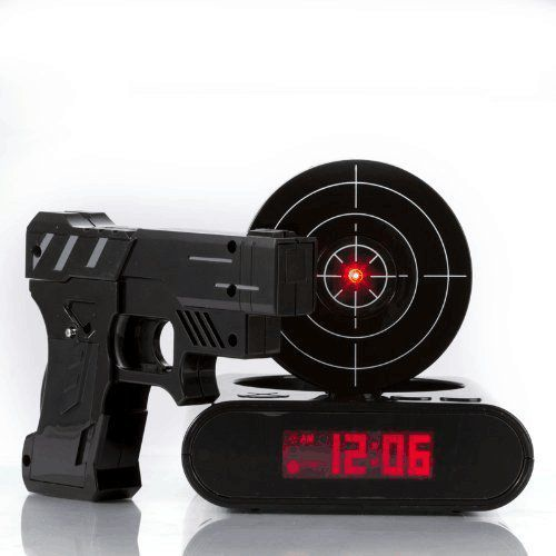 IreVoor Lock N' load Gun alarm clock/target alarm clock/Creative Gun Shooting Alarm Clock (Black)
