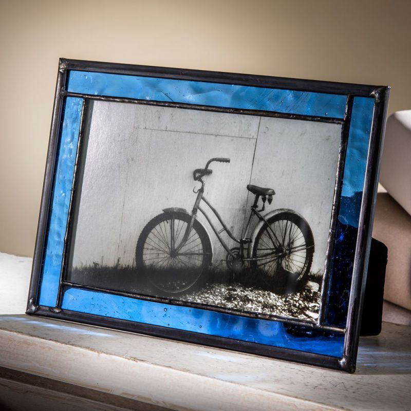 J Devlin Blue Stained Glass Displays 4x6 Horizontal or Vertical Photo Frame