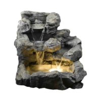 Jeco Rock Creek Cascading Outdoor Indoor Fountain with Illumination