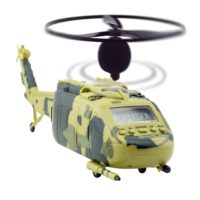 Joyart Unique Helicopter Alarm Clock Camouflage Color with Flying Propeller Blade Aircraft Taking Off and Landing Sound Battery or Wall Outlet Power for Heavy Sleep People