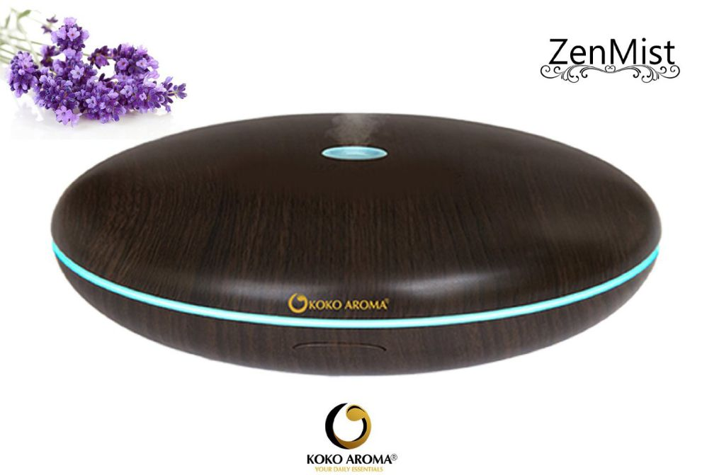 KOKO AROMA Wood Grain Aromatherapy Essential Oil Diffuser/Humidifier – Zen Mist 400ml 12 Hour Run Time - Spa Vapor with Controllable Lighting – eBook included (Dark Wood)