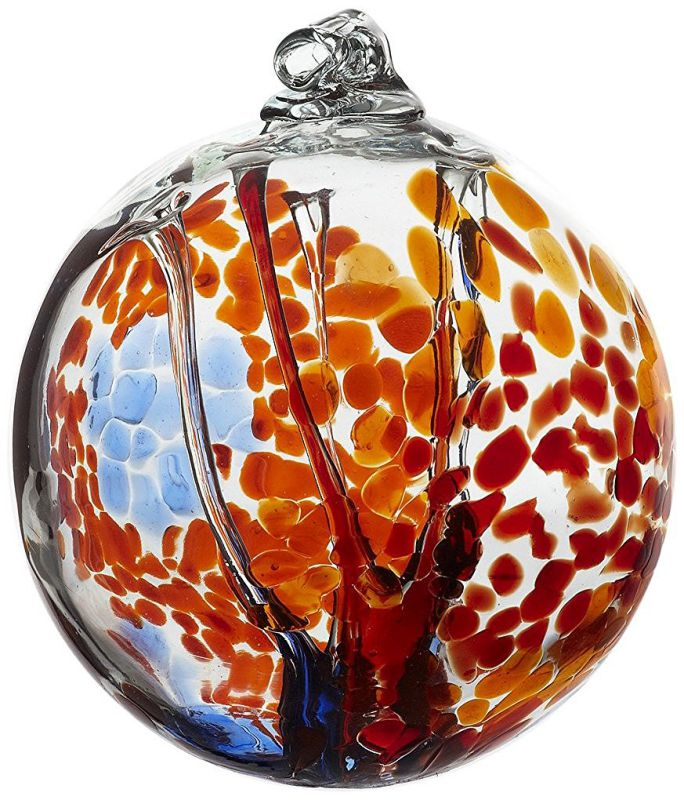 Kitras Art Glass Decorative Spirit Ball, 6-Inch, Orange