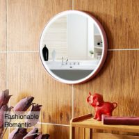 LED Wall Mirror, Silver Mirror with 2 Light Modes Controled by Touch Sensor.(Pink)