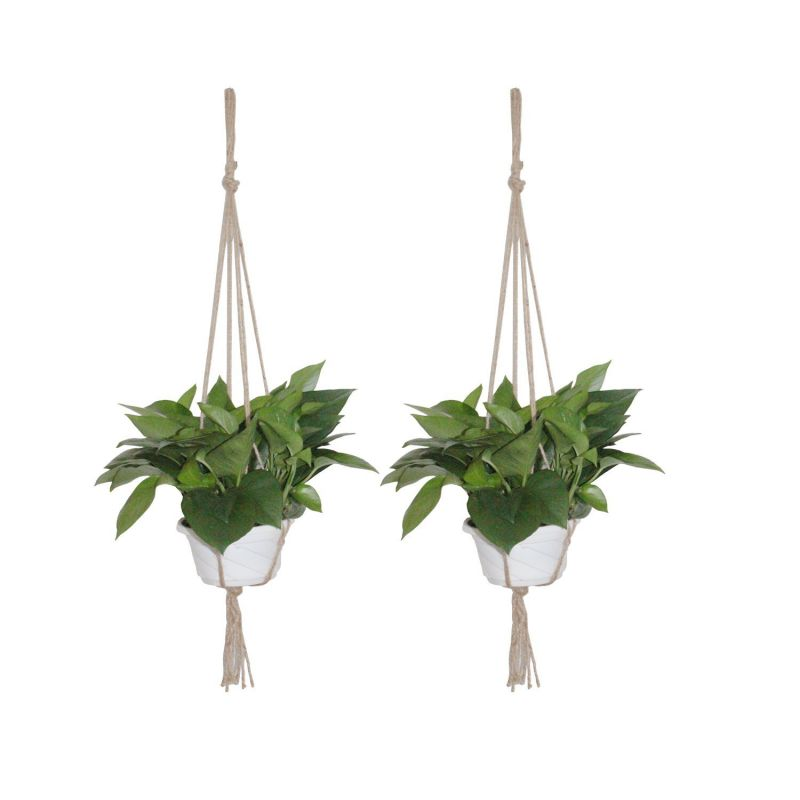 LJY 2-Pack Plant Hanger Macrame Jute 4-Leg without Hoop for Indoor Outdoor Balcony Ceiling Patio Deck Round & Square Pots (Total Length 95cm / 37.4in)