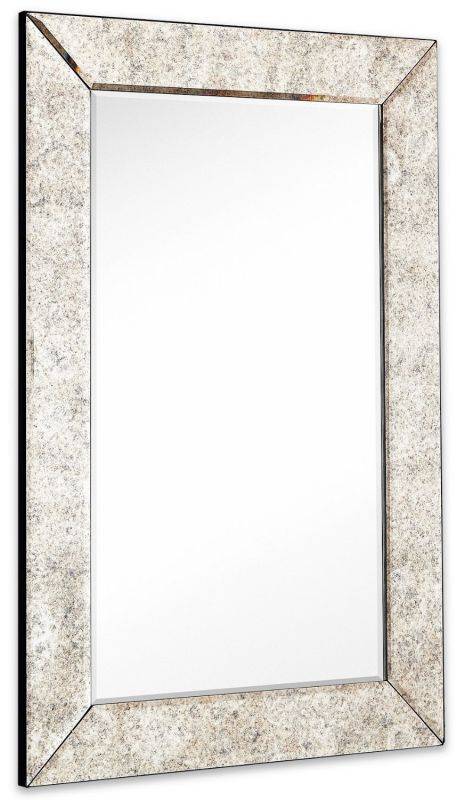 "Large Antiqued Framed Wall Mirror 3.5 inch Antique Frame Rectangular Mirrored Glass Panel | Premium Beveled Silver Backed Mirror Vanity, Bedroom, or Bathroom Hangs Horizontal & Vertical (24"" x 36"")"