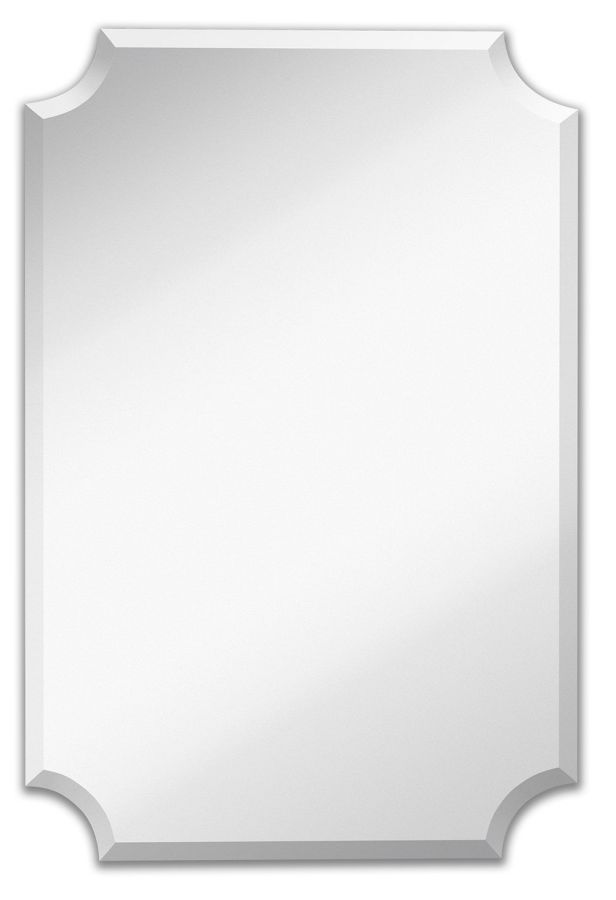 "Large Beveled Scalloped Edge Rectangular Wall Mirror | 1 inch Bevel Curved Corners Rectangle Mirrored Glass Panel for Vanity, Bedroom, or Bathroom Hangs Horizontal & Vertical Frameless (24"" x 36"")"