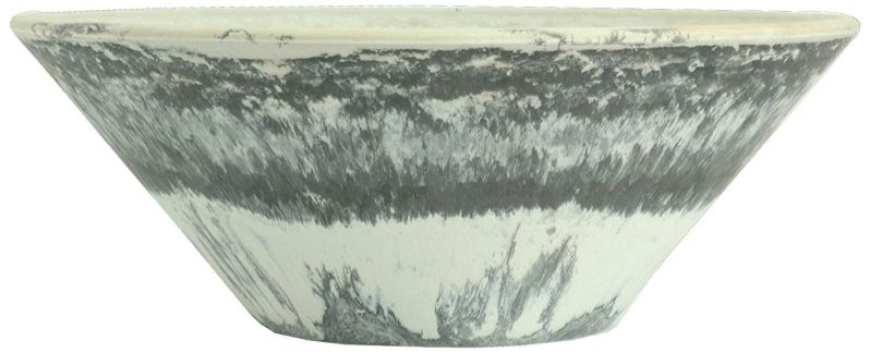 Listo Premium Horizon Fiber Clay Flat Bowl, 15-Inch, Black Stone