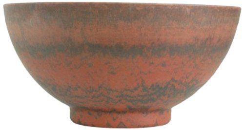 Listo Premium Horizon Fiber Clay Pedestal Bowl, 16-Inch, Fireball Red