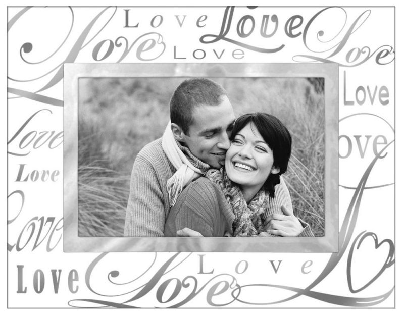 "Malden International Designs Beveled Glass ""Treasures Love"" Metal Picture Frame, 4 by 6-Inch, Silver"