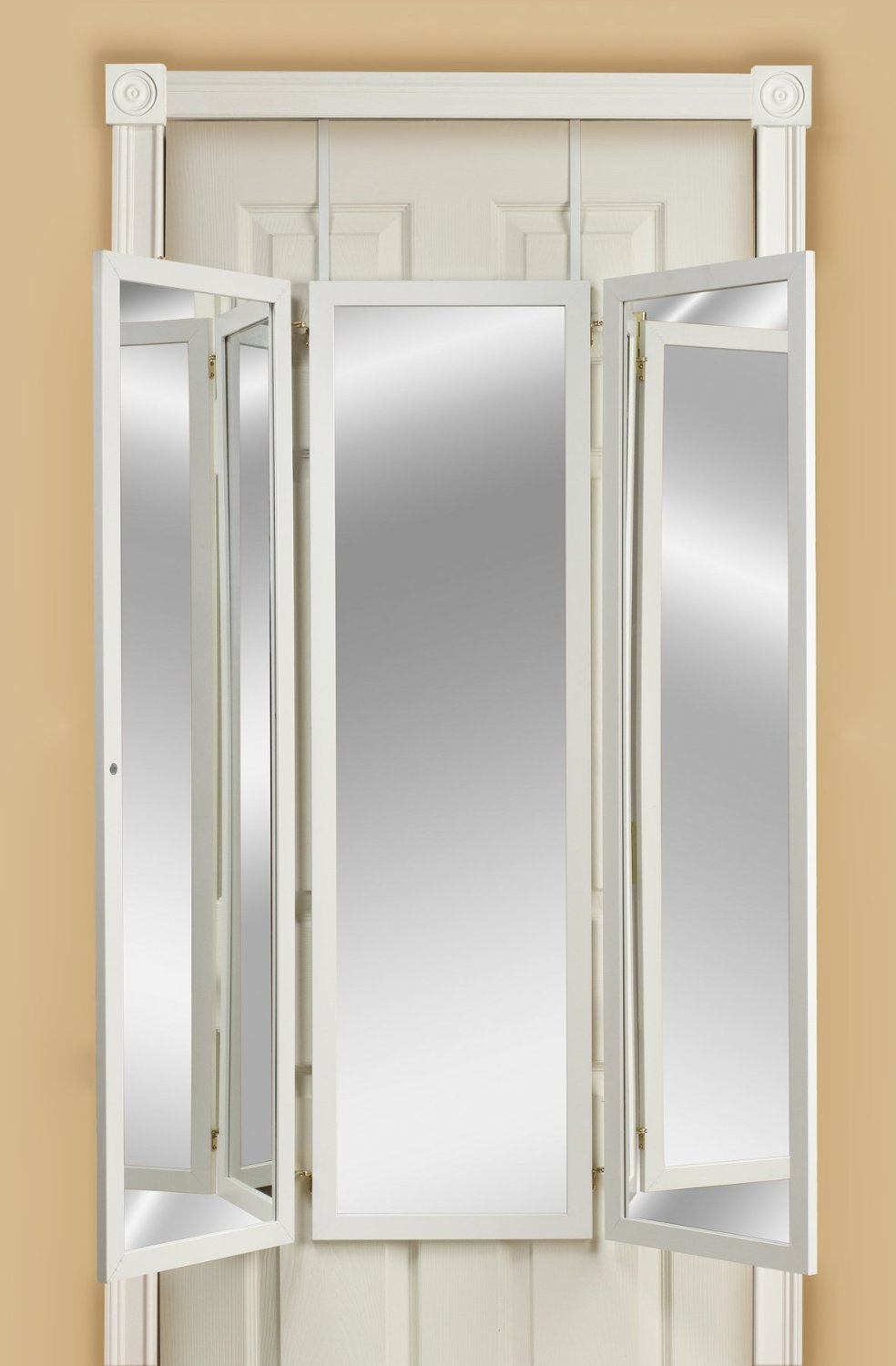 Mirrotek 3VU1448WT Triple View Professional Over The Door Dressing Mirror with 4 Mirrors, White