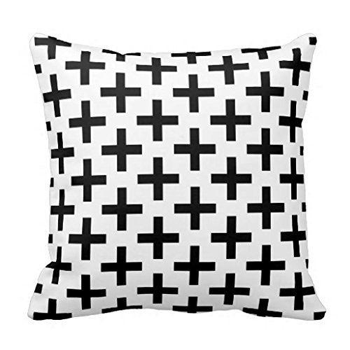 Mod Black And White Plus Sign Throw Pillow Case