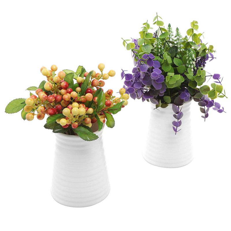 MyGift Ribbed White Ceramic Flower Vases / Tabletop Plant Containers, Set of 2