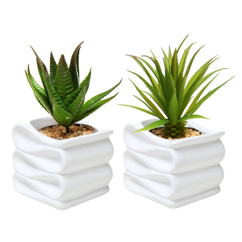 MyGift® Set of 2 Modern Decorative Folded Design Small Ceramic Plant Pot / Flower Planter - White