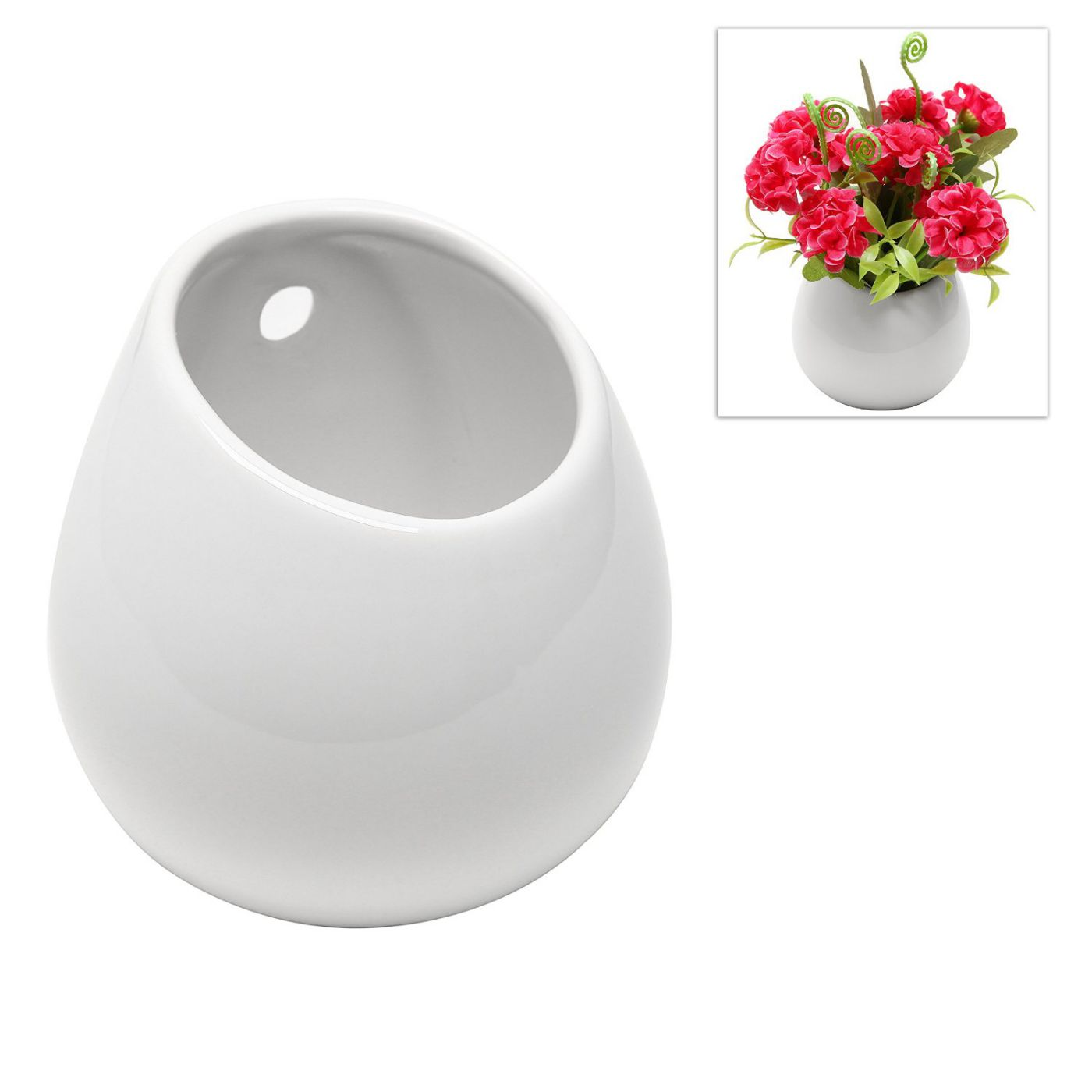 MyGift® White Petite Wall Mounted, Hanging or Freestanding Decorative Ceramic Flower Planter Vase Holder Display
