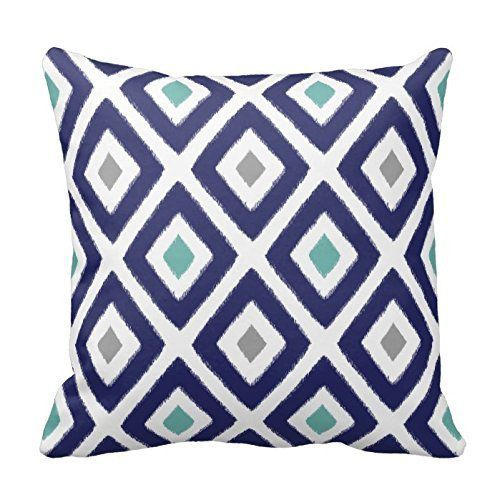 Navy Blue Aqua and Grey Diamond Pattern Design Decorative Throw Pillow Case Cover Square 18 X 18 Inch Two Sides
