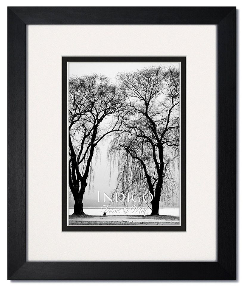 One 16x20 Gallery II: Black Wood Picture Frames with Clear Glass and Double White/Black Mat for 11x14 (1)